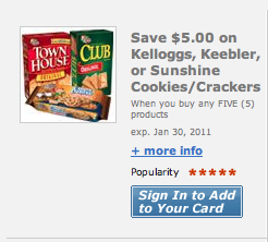 *hot!* Load a $5/5 Kellogg's, Keebler or Sunshine Cracker Coupon to your Fred Meyer, QFC or Kroger Card!