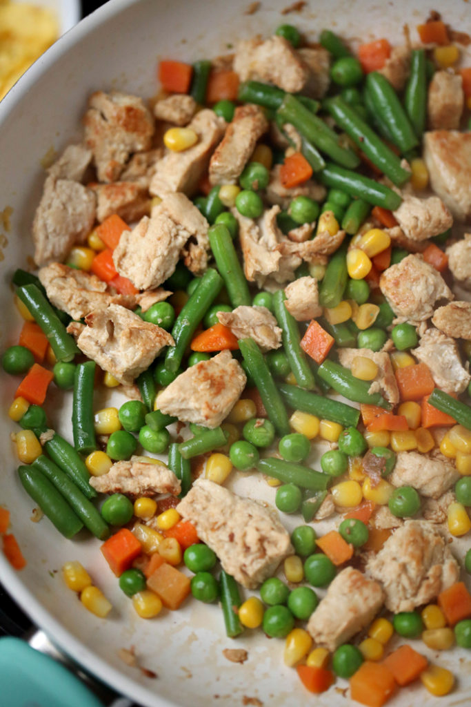 cooked chicken and veggies