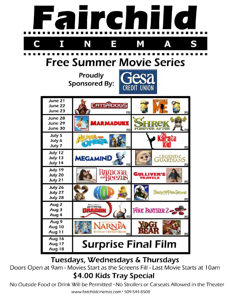 Fairchild Cinemas: 2011 FREE Kids Movies this Summer ...