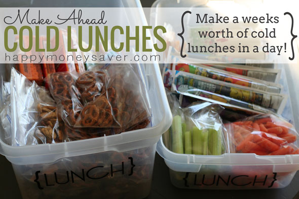 "Cold Lunches for the Week all made in one day! In the morning, just grab food you prepped earlier in the week from the ""Lunch Container"" and you're DONE!! Genius!  #backtoschool #schoollunch (happymoneysaver.com)"