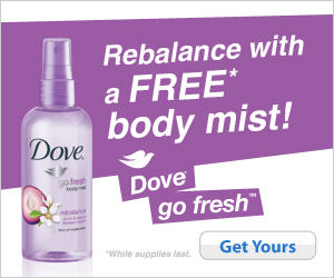 {gone}Free Sample Dove Body Mist - Happy Money Saver