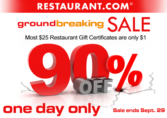90% off on Restaurant.com Today only = $25 Restaurant Gift ...