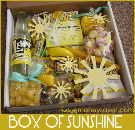 Send a box of sunshine to brighten someone's day! Fill it full of yellow items. Who wouldn't want to get this as a nice surprise?