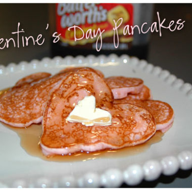 "Valentine's Day Breakfast ""Pink Heart Pancakes"""