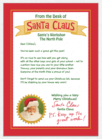 custom personalized card from santa mailed to your children for