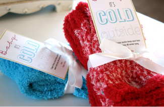 "Thrifty Sock Gift Idea + Free ""Baby It's Cold Outside"" printable!"