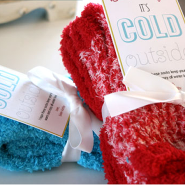 """Thrifty Sock Gift Idea + Free """"Baby It's Cold Outside"""" printable!"""