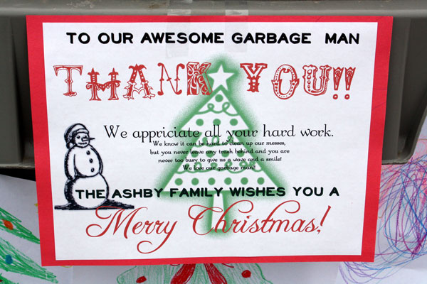 happy thoughts  thanking the garbage man