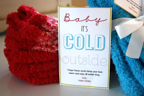 "Thrifty Sock Gift Idea + Free ""Baby It's Cold Outside ..."