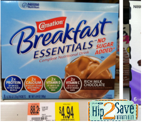 Walmart| Carnation Breakfast Essentials only $1.44 after Coupon & Ibotta Rebate