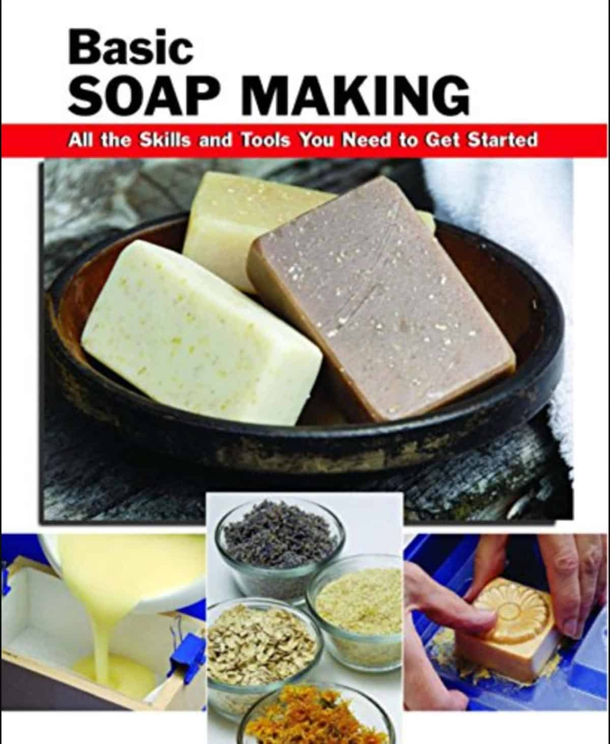 basic soap making book cover on amazon with 3 bars of soap in a bowl