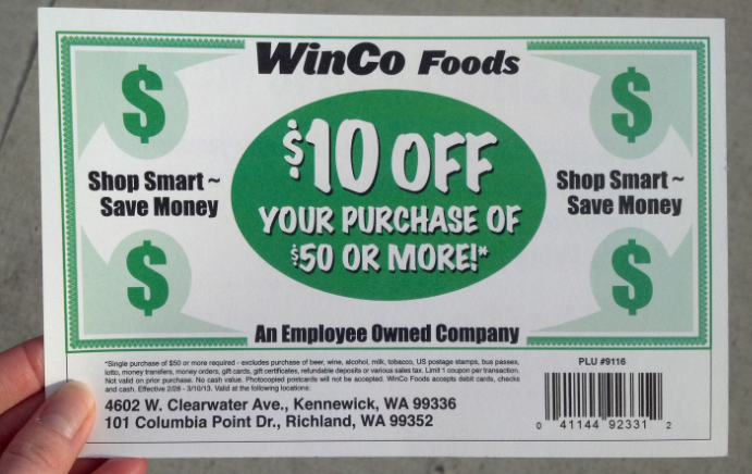 Locals 10 Off 50 Purchase At Winco Coupon Check You Mail Happy