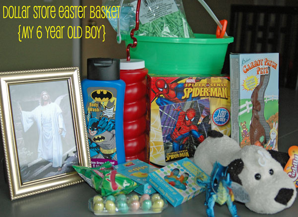 4 easter basket ideas on a dollar store budget items i filled my 6 year olds basket with negle Image collections