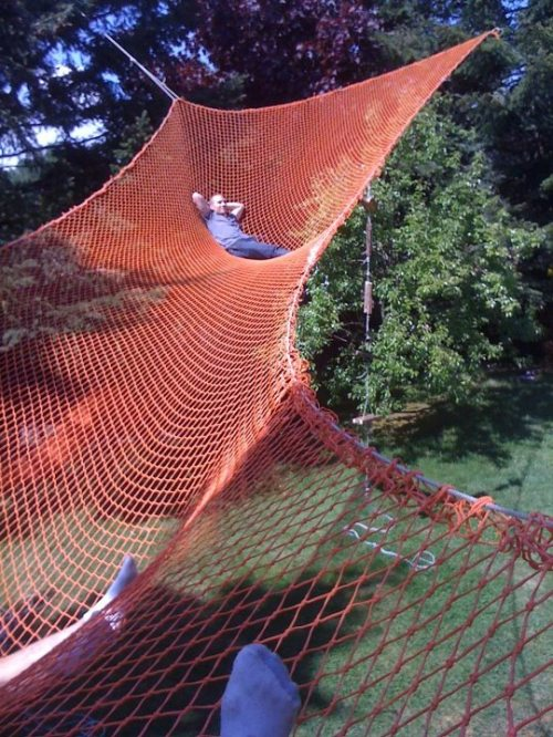 Best Backyard Hammock : saw this image today of a huge hammock on Pinterest and knew it had