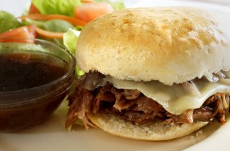 Slow Cooker Roast Beef French Dip Sandwich {Freezer Meal}