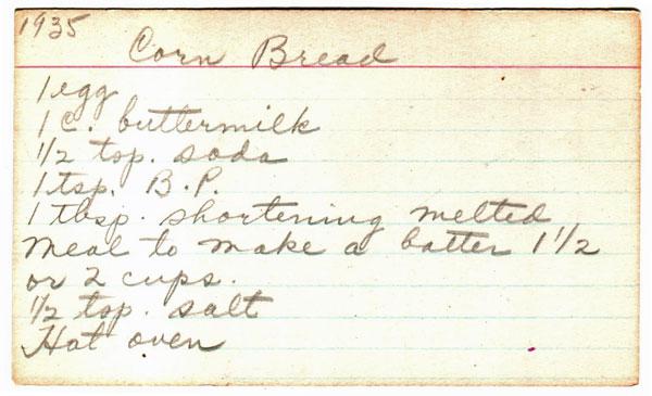 1935 Cornbread Recipe  http://happymoneysaver.com