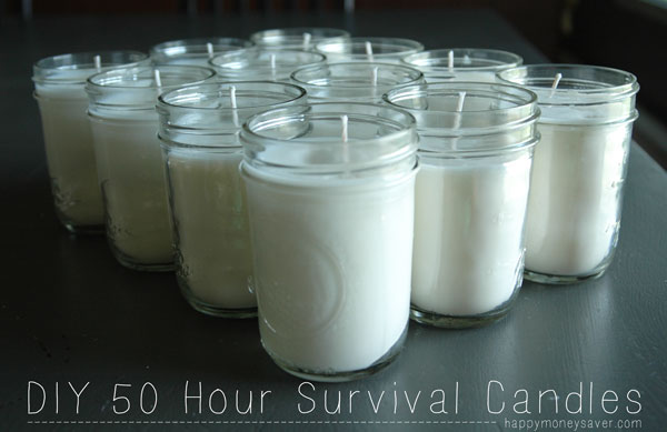 So quick & easy making your own 50 Hour Soy Survival Candles. They cost under $2.00 each too.  Toss in a box of matches inside before you close it up so you will always be prepared!  #survival happymoneysaver.com