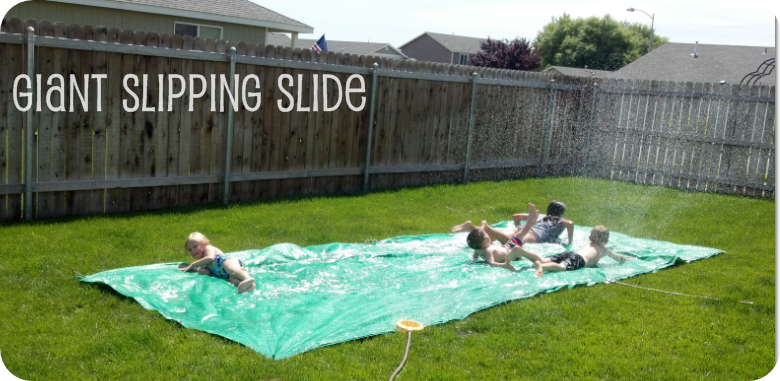 Giant Slipping Slide using a tarp = Summer Fun a on a Budget!