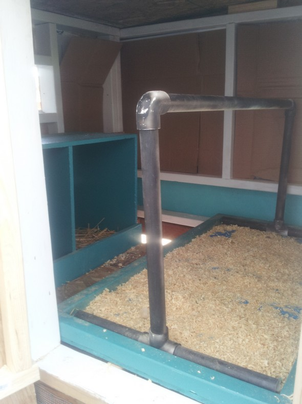 PVC Pipe as a chicken coop roosting bar - happymoneysaver.com