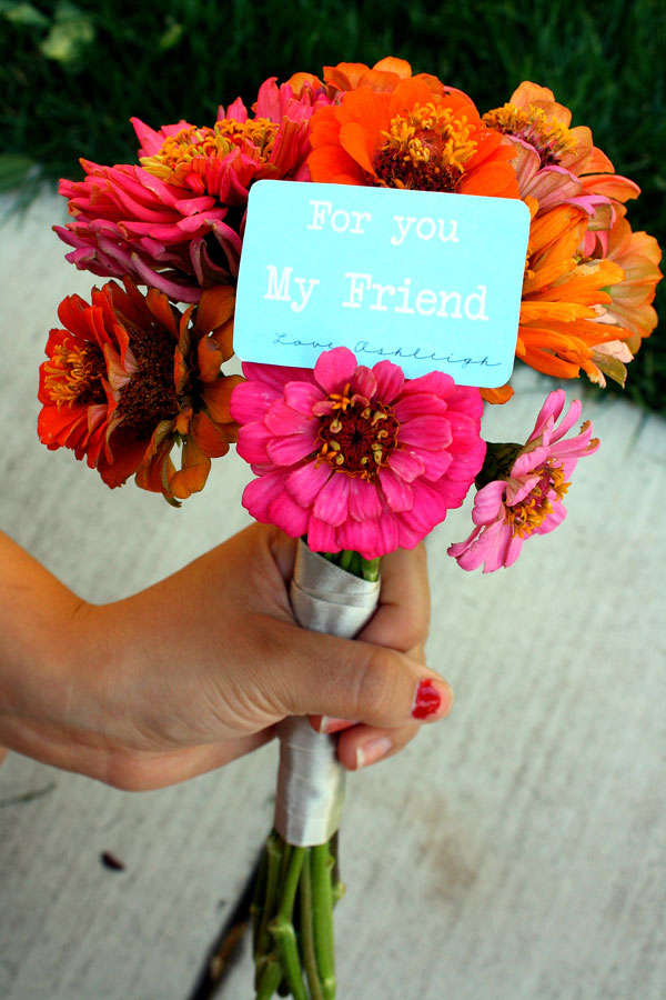 Pick a bouquet of flowers from your garden for a friend