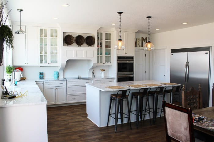 White Kitchen with big island - farmhouse style!