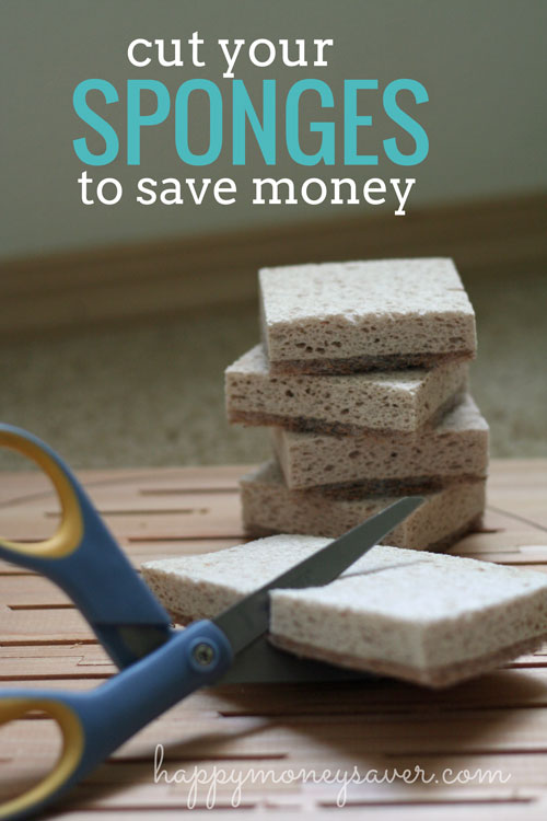 Super thrifty tip: Cut your sponges, scrubbers, magic erasers and even dryer sheets in half to save money!