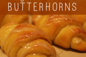 Old time recipe for Grandmother's Butterhorns. Sweet soft delicous rolls with frosting on top. Mmmmm.