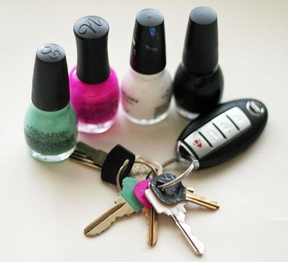 Nail Polish Keys - never fumble through your key ring again!