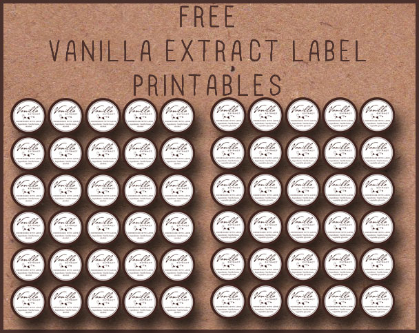 Free printable tags to make homemade vanilla! Alcoholic or Non-Alcoholic recipe.