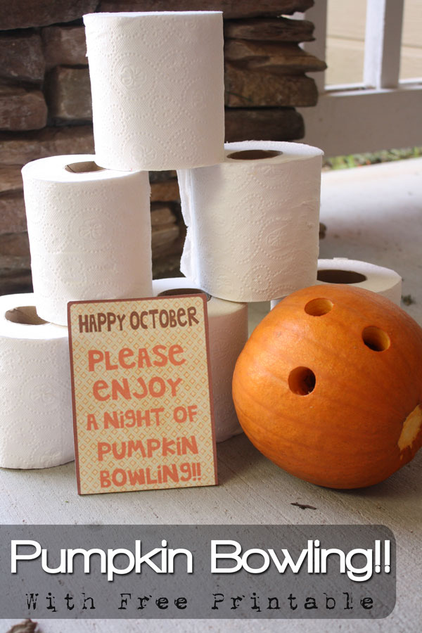 Love this fun family idea of Pumpkin Bowling as a family and then delivering some to friends doorsteps with the Free printable attatched