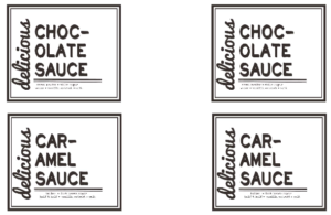 free printable for homemade chocolate and caramel sauce