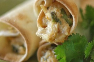 Homemade Freezer Chicken Taquitos with Cream Cheese, Cilantro & Pepper-Jack Cheese