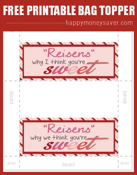 Get your FREE printable Bag topper for Reisens Candy Valentine idea