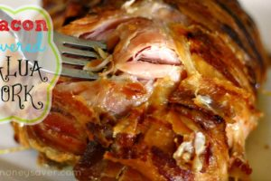 Bacon covered kalua pork recipe that is amazing! Make in the crockpot .