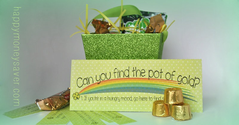 Use this St Patrick's Day treasure hunt to brighten your day. #happythoughts #treasurehunt