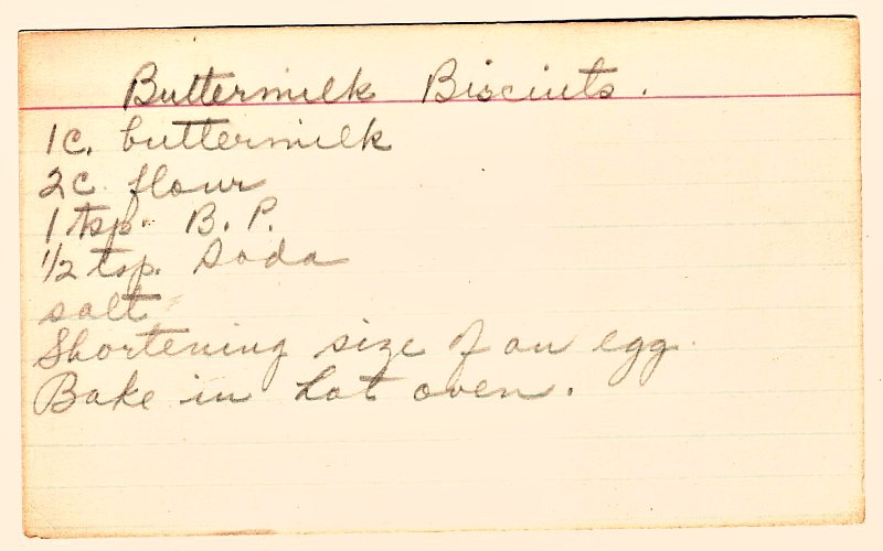 Vintage Buttermilk Biscuits Recipe Card from 1900's Recipe box