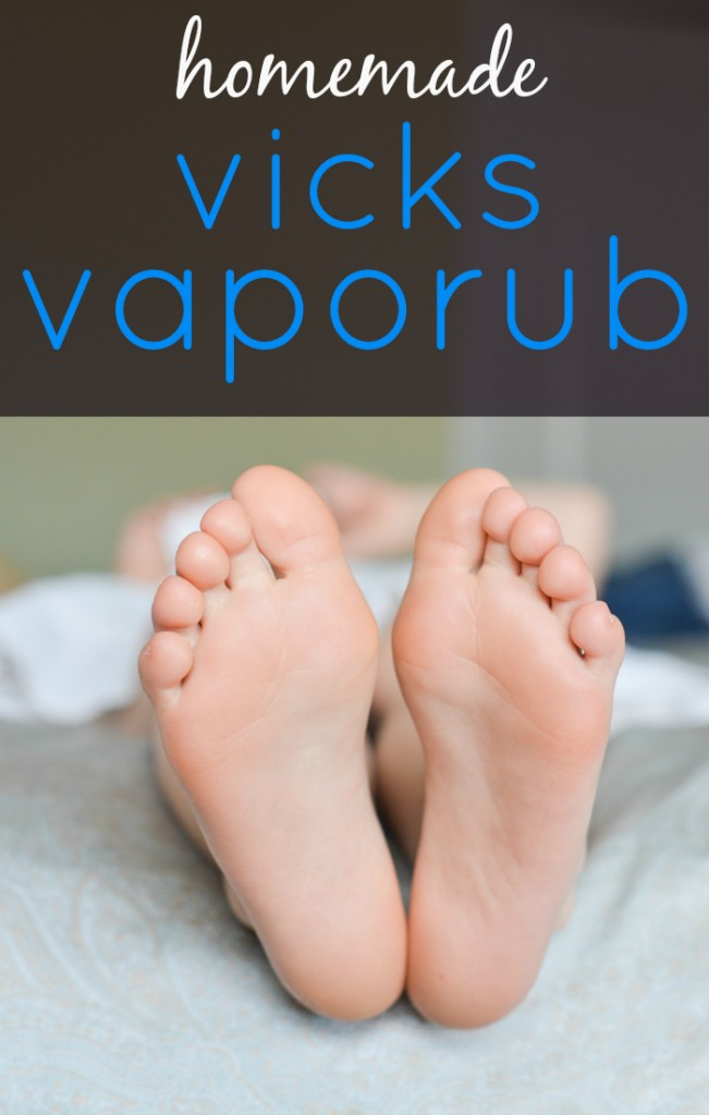 Homemade vapor rub that works just as well as Vicks without all the chemicals! Rub on the feet before bed, put on a pair of socks, and sleep in peace.