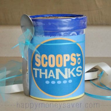 """Scoops of Thanks"" Ice Cream Gift Idea + Free Printable"