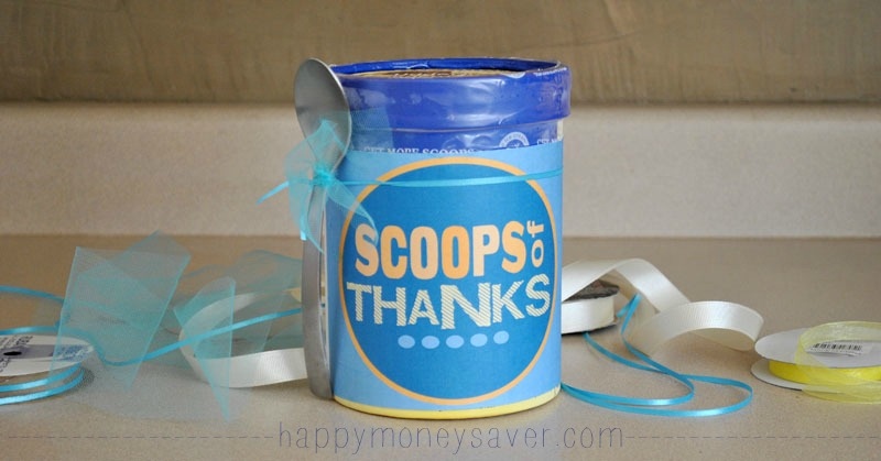 Use this ice cream gift idea as a thank you for somebody you need to thank. #happythoughts #thanks