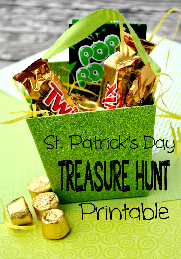 Use this free printable to spice up your day with a St Patrick's Day Holiday Treasure Hunt. #happythoughts #treasurehunt