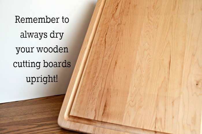 Dry your cutting board upright after cleaning with lemon and salt!  So easy!