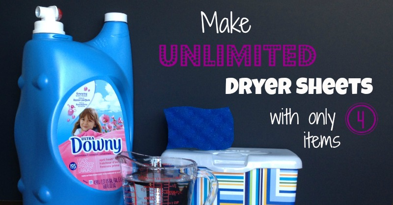 Unlimited dryer sheets with 4 ingredients and only $1.00!! So fast to make too!