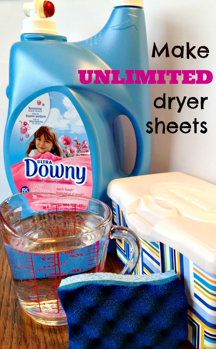 Easy and cheap way to make an unlimited supply of dryer sheets using just four household ingredients!  It takes just five minutes to make!