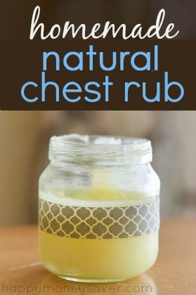 Make your own homemade chest rub recipe. Super quick and easy and only uses 3 ingredients! Works just as well as the big brand but doesn't have petroleum or turpentine. So much safer.