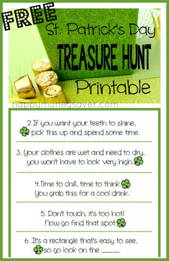 Free printable St. Patrick's Day TREASURE HUNT with clues!! FUN FUN FUN.