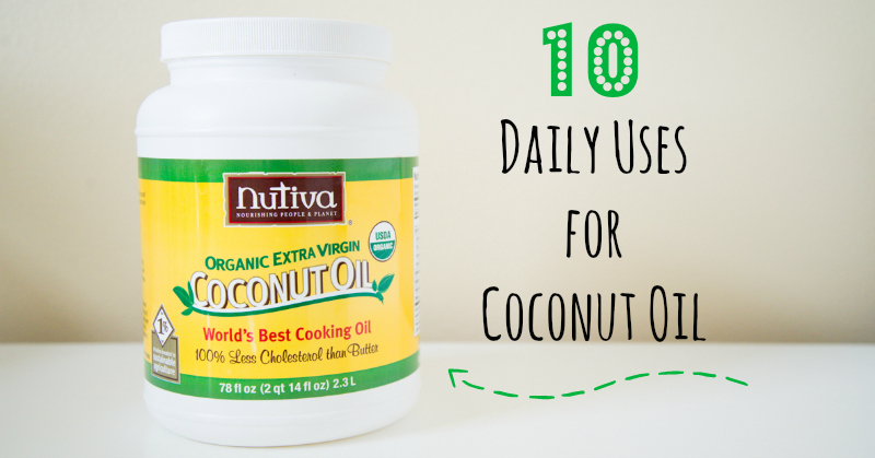 10 ways to use Coconut Oil every day. Great tips for everything from body care to baking!