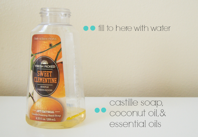 It's so easy and waaaaaay cheap to make your own foaming hand soap. I hate the effects of all of those crappy toxins found in the soaps from the store. This works great and only takes a minute to make.