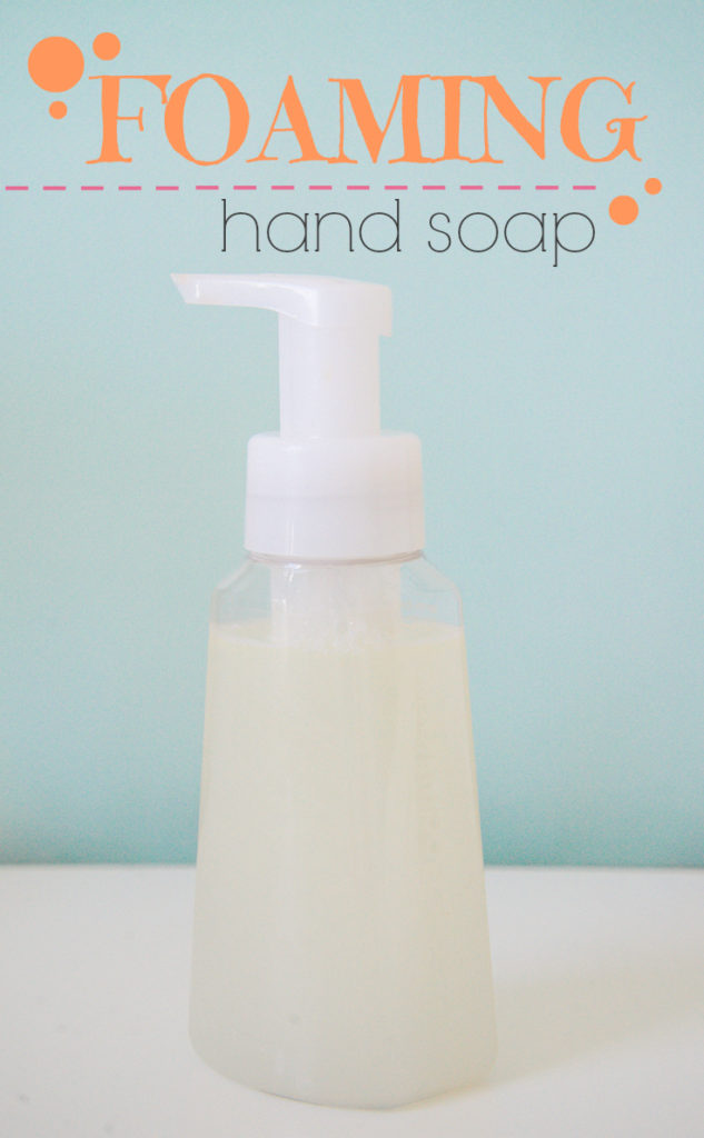 Make your own, homemade foaming hand soap. This is such an easy way to cut harmful toxins from your daily routine.  The anti-bacterial stuff you buy at the mall is awful for you and your family. Be healthy and make your own for cheap!