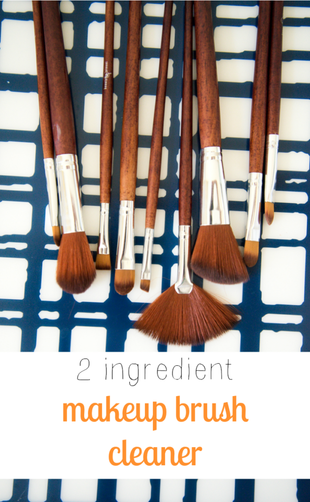 Quick and easy 2 ingredient DIY makeup brush cleaner. Never apply makeup with a dirty, bacteria infested brush again! Paraben and other nasty chemical free.