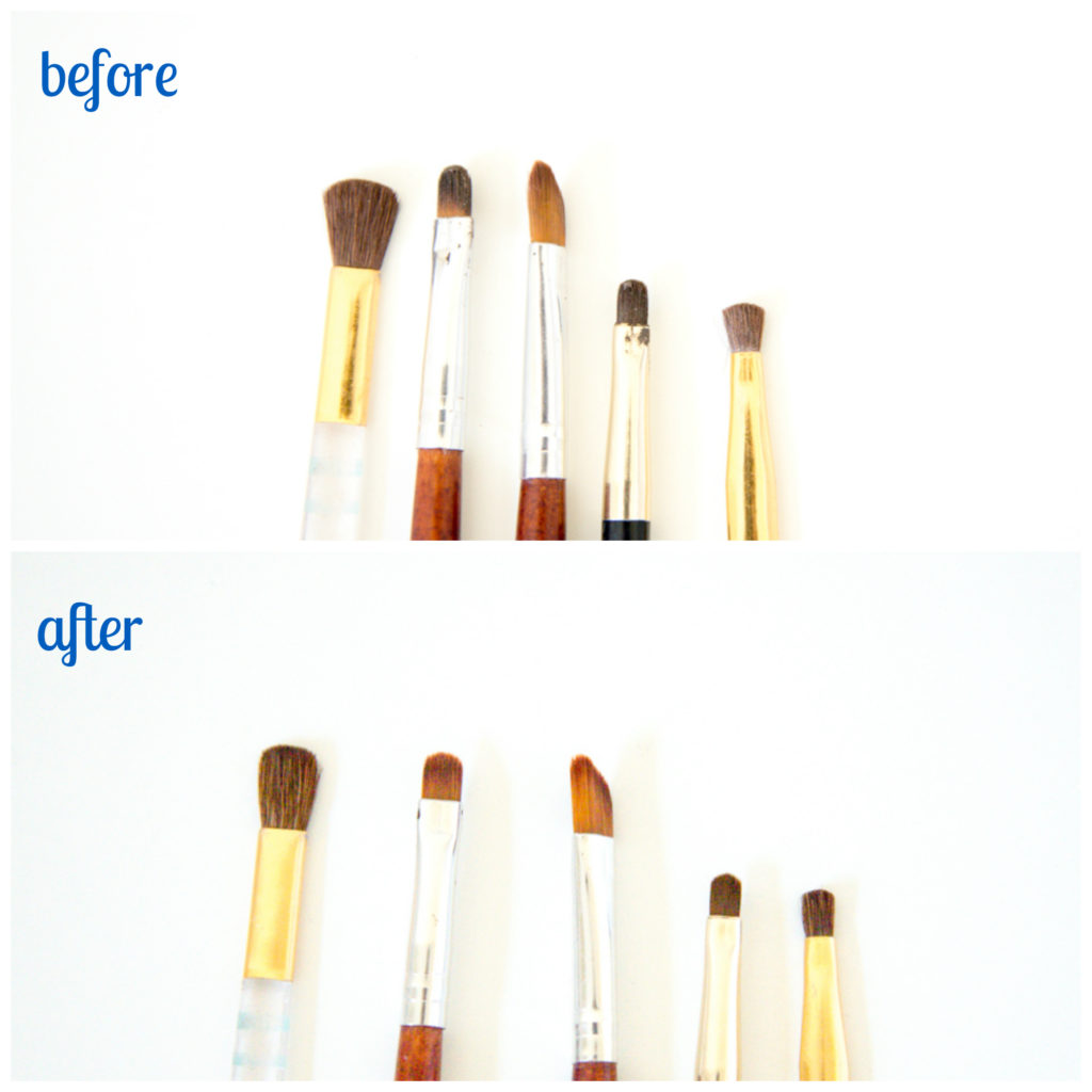 Quickly and easily clean your makeup brushes with 2 simple ingredients.